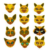 Insignes de chemin avec la tête de chats Image libre de droits