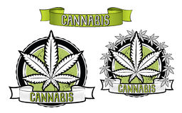 Insignes de conception de marijuana et de feuille de ganja  illustration de vecteur