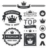 Insignes de couronne et collection de la meilleure qualité d'élément de vecteur Photos stock