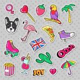 Insignes de filles de mode, corrections, autocollants avec l'oiseau de flamant, perroquet de pizza et coeur Photos stock