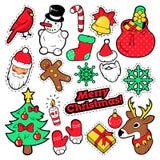 Insignes de Joyeux Noël, corrections, autocollants - Santa Claus, bonhomme de neige, flocon de neige, arbre de Noël dans le bruit Images stock