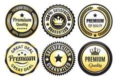 Insignes de la meilleure qualité de qualité d'or Images stock