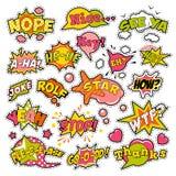 Insignes de mode, corrections, autocollants dans le bruit Art Comic Speech Bubbles Set Photos stock