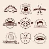 Insignes de raseur-coiffeur réglés illustration stock