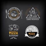 Insignes de restaurant de menu de pizza Calibre de conception de nourriture Vecteur avec Photos stock