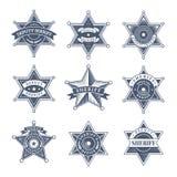 Insignes de shérif de sécurité Maintenez l'ordre le bouclier et commandez des symboles de vecteur de Texas Rangers de logo illustration libre de droits
