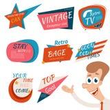 Insignes et emblèmes de style de vintage rétros Photographie stock
