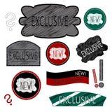 Insignes et une exclusivité nouvelle Images libres de droits