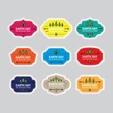 Insignes/labels de jour de terre Naturel, disparaissent le vert, sauvent la terre EPS10 Photographie stock