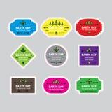 Insignes/labels de jour de terre Naturel, disparaissent le vert, sauvent la terre EPS10 Image libre de droits