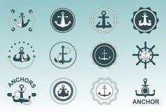 Insignes nautiques de vecteur de symboles d'ancre Illustration Libre de Droits