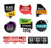 Insignes noirs de vente de vendredi illustration stock