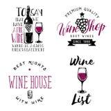 Insignes orientés de vin, logos, labels dans le style de vintage Images stock