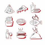 Insignes originaux et créatifs pour le logo aux restaurants d'aliments de préparation rapide illustration de vecteur
