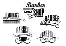 Insignes ou signes de Barber Shop réglés illustration de vecteur