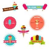 Insignes pour la boutique de crème glacée  Image libre de droits