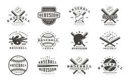 Insignes réglés de l'équipe de baseball illustration de vecteur