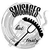 Insignes, rubans et labels de vintage de gril de BBQ de saucisse rétros Photographie stock libre de droits