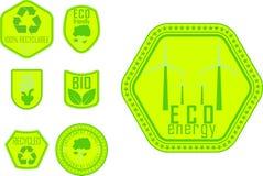 Insignes verts d'eco Photo stock
