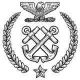 Insignia Американского флота с венком Стоковая Фотография