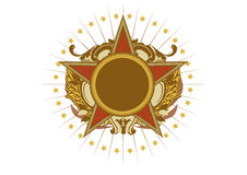 Insignia. Star shaped   .  Blank so you can add your own images. Vector illustration Royalty Free Stock Photo
