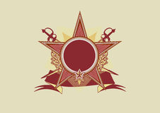 Insignia. Star shaped  with banner  .  Blank so you can add your own images. Vector illustration Royalty Free Stock Image