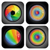 Insignia abstracta con los elementos del diseño del arco iris Fotos de archivo libres de regalías