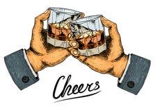 Insignia americana del whisky del vintage Etiqueta alcohólica con los elementos caligráficos Marco clásico para la bandera del ca stock de ilustración
