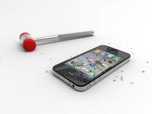 Insignia androide contra Iphone. Aislado. Imagen de archivo libre de regalías
