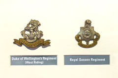Insignia badges British Army at the Museum Stock Photo