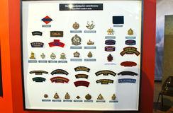Insignia badges Canadian Army at the Museum Royalty Free Stock Photography