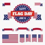 Insignia, banderas y cintas del día de la bandera de los E.E.U.U. Fotografía de archivo libre de regalías