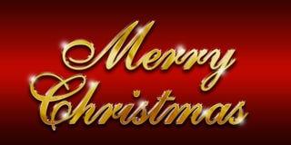 Insignia brillante del oro de la Feliz Navidad Fotos de archivo libres de regalías
