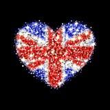 Insignia chispeante del corazón de la bandera de Reino Unido ilustración del vector