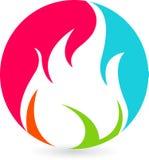Insignia colorida de la llama libre illustration