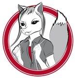 Insignia con el zorro de la muchacha del vector Fotografía de archivo