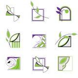 Insignia con las hojas ilustración del vector
