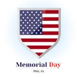 Insignia conmemorativa con la bandera americana Icono para su diseño aislado en fondo azul en el estilo de la historieta para Mem Imagen de archivo