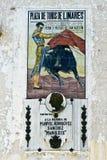 Insignia conmemorativa del aniversario de la muerte de Manolete en la plaza de toros de Linares Fotografía de archivo libre de regalías