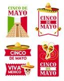 Insignia de Cinco de Mayo del mexicano del sombrero, maracas