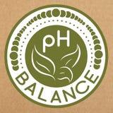Insignia de la balanza del pH, icono, disposición de la etiqueta engomada Imagen de archivo