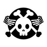 Insignia de la bandera pirata/monocromo esqueléticos del emblema Fotos de archivo