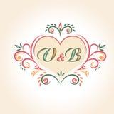 Insignia de la boda del vintage en la forma de un corazón Foto de archivo libre de regalías