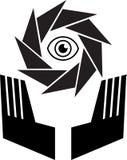Insignia de la caja fuerte del ojo ilustración del vector