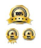 insignia de la cinta del oro de la garantía del 100 por ciento aislada Fotos de archivo