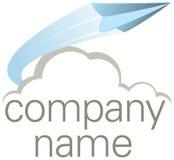 Insignia de la compañía del aeroplano de papel que vuela Imagen de archivo