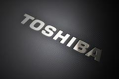 Logotipo de la computadora port?til de Toshiba Imágenes de archivo libres de regalías