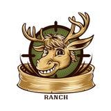 Insignia de la etiqueta del cazador de la mascota de los ciervos de la historieta Imagen de archivo libre de regalías