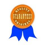 Insignia de la garantía de calidad aislada en blanco Foto de archivo libre de regalías