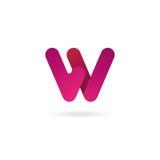 Insignia de la letra W Plantilla del diseño del icono del vector muestra del color Fotos de archivo
